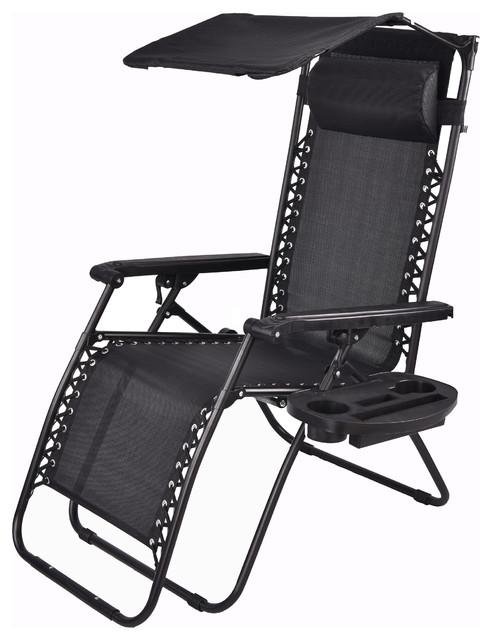 Outdoor Zero Gravity Chair Lounge Patio Beach Canopy Sunshade Cup Holder, Black.