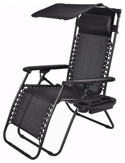 Outdoor Zero Gravity Lounge Chair With Sunshade And Cup Holder, Black  Transitional Outdoor