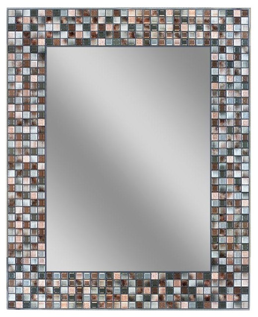 "Bathroom Mirrors 24 X 30 earthtoned copper-bronze mosaic mirror, 24""x30"" - transitional"