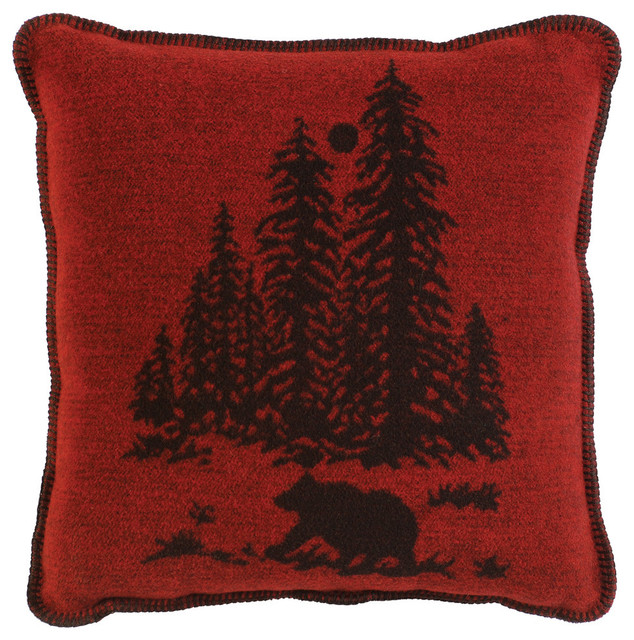 Wooded River Bear Pillow Rustic Decorative Pillows