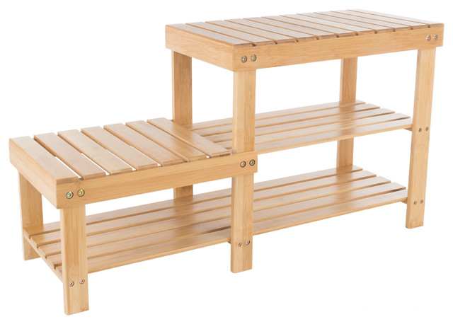 2 Tier Bamboo Shoe Rack Bench- High And Low Seats By Lavish Home.