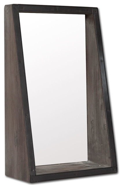 Mercana Industrial Mirror, Brown.
