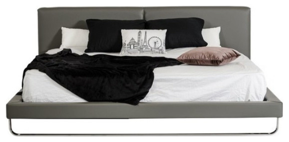 Modrest Ramona Modern Gray Leatherette Queen Bed.