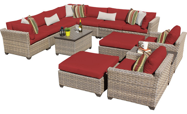 Hampton Outdoor Wicker 13-Piece Patio Set, Terracotta.
