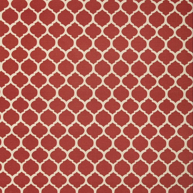 Courtyard Trellis Red White Contemporary Geometric Print Outdo Upholstery Fabric