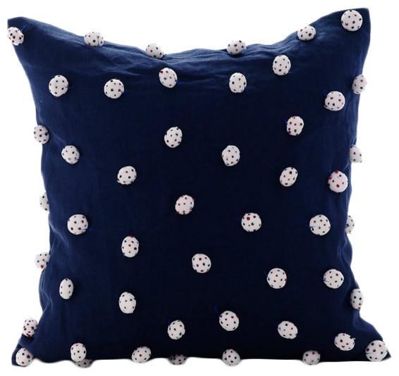 Dotted Pom Poms Blue Cotton Linen 30x30 Cushions Cover, I Love Pom Poms