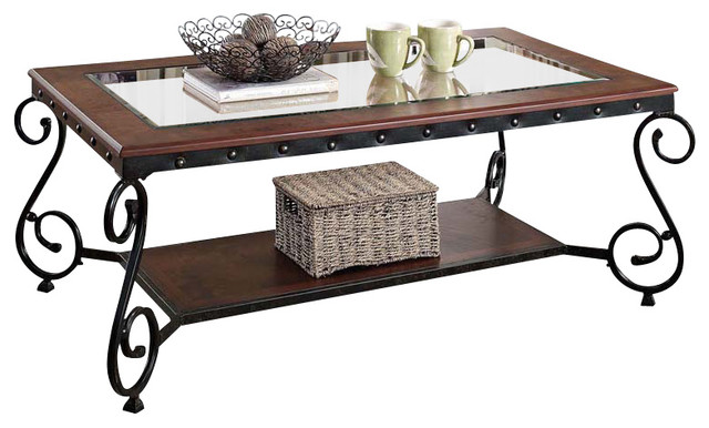 Cherry Beading Design Metal Frame Glass Top Wood Shelf Coffee Table Coffee  Tables