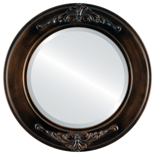 Ramino Framed Round Mirror, Rubbed Bronze, 23x23.