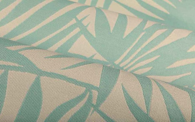 Palm Frond Outdoor Upholstery Fabric in Sky Blue