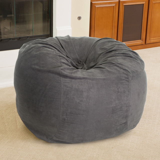 Swell Contemporary Living Space W Faux Suede Grey Bean Bag Ibusinesslaw Wood Chair Design Ideas Ibusinesslaworg