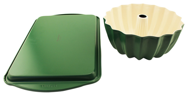 Cook&x27;n&x27;co Green Cookie Sheet And Bundt Pan Set.