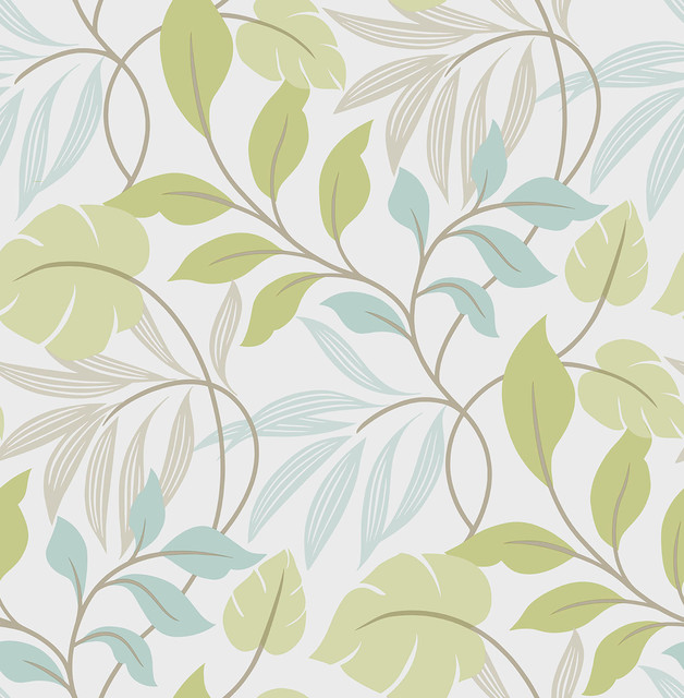 Green Leaves Peel And Stick Wallpaper Green And Gray 4 Rolls