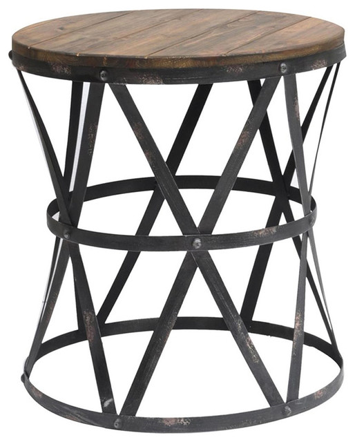 Bon Crestview Heraldine Side Table Furniture In Fir Wood Iron Finish CVFZR445