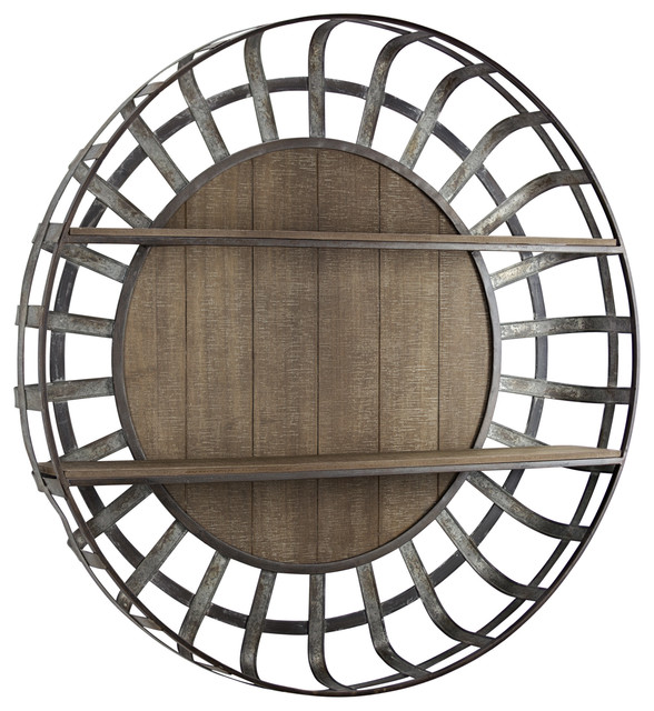 American Art Decor Rustic Wood And, Round Wall Decor With Shelves