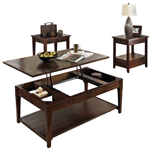 steve silver company crestline 3 piece lift top cocktail table set in distressed contemporary. Black Bedroom Furniture Sets. Home Design Ideas