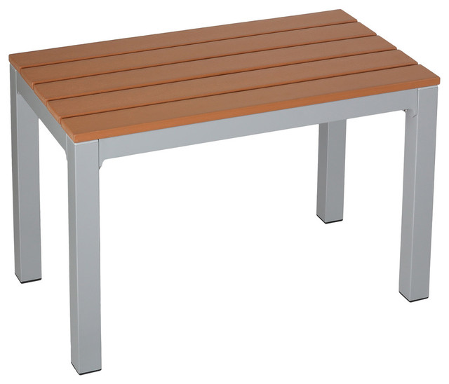 Avery Aluminum Outdoor Bench, Poly Wood, Silver/Teak