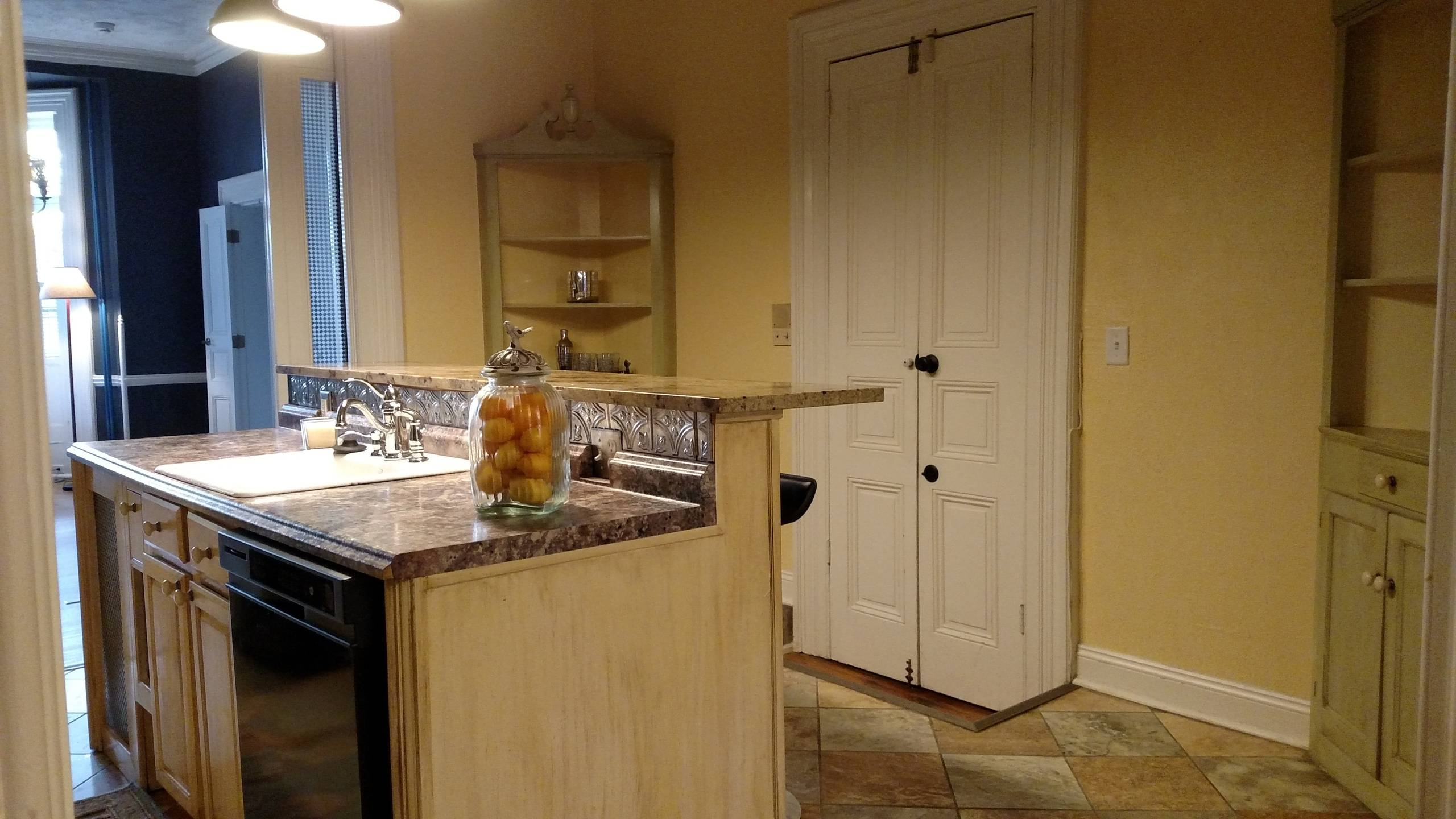 Kitchen island and corner cabinets