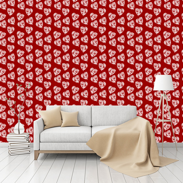 Floral bouquet with heart patterned peel stick textured Floral peel and stick wallpaper
