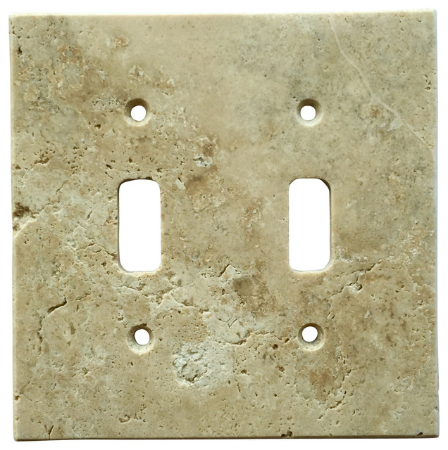 Light Walnut Travertine Switch Plate Cover Double Toggle, 4.5\