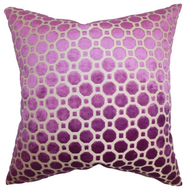 "Kostya Geometric Pillow Purple 18""x18""."