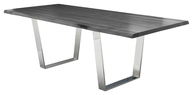 cogsworth industrial gray oak stainless steel dining table 96w modern