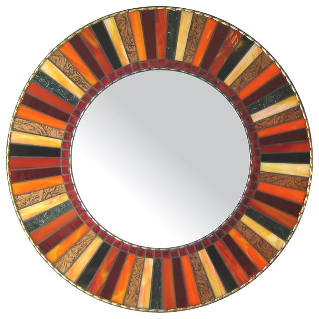 Red Wall Mirror round mosaic mirror - red, orange, black (handmade) - contemporary