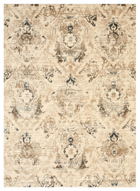 Ivory Distressed Bohemian Isabella Rug, 7&x27;10x9&x27;10.
