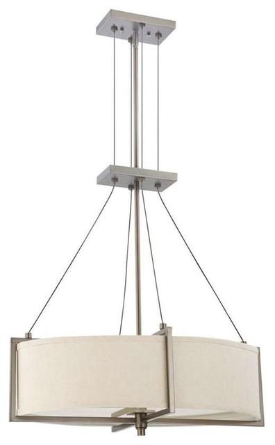 Nuvo Portia ES 4 Light Oval Pendant With Khaki Fabric Shade Transitional Lighting