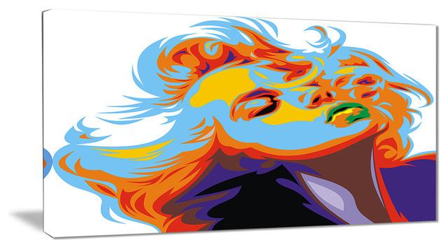"""""""blonde Girl Art"""" Vector Art Canvas Print, 32""""x16""""."""