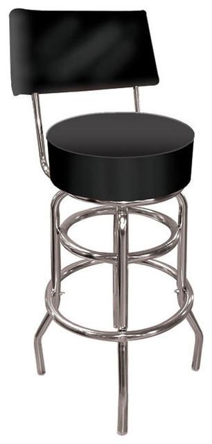 Wondrous High Grade Black Padded Bar Stool With Back Customarchery Wood Chair Design Ideas Customarcherynet