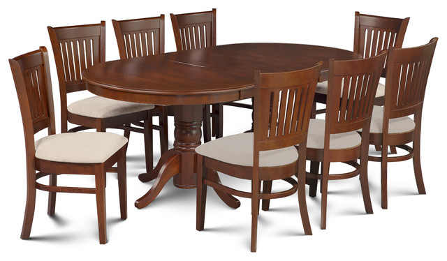 9 Piece Dining Room Set Table, A Butterfly Leaf, 8 Dining Chairs,