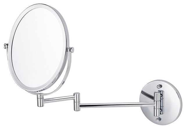 "Oval Brass-Mirror Wall Mount Magnifying Mirror, Chrome, 16.95""."