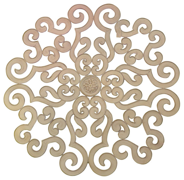 "Metal Medallion Wall Art 38"" large white scroll wall medallion, round art metal iron swirl"