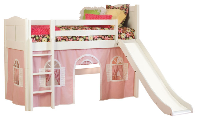 cottage twin low loft bed white with pink and white bottom curtain and slide