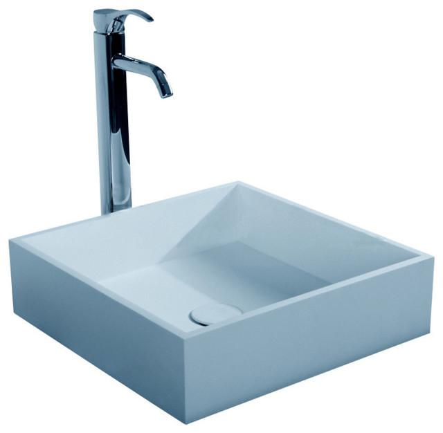 Adm Square Countertop Sink, Matte White, 16x16.