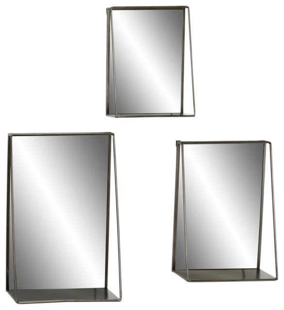 Large Industrial Black Metal Rectangular Wall Mirrors With Shelves