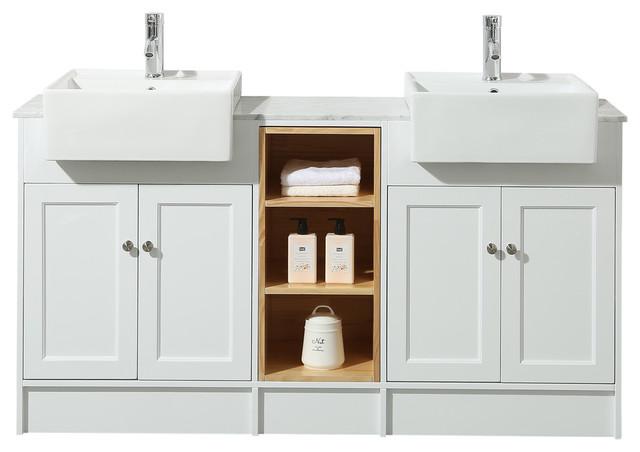 Stufurhome Zevan 59 White Double Sink Bathroom Vanity