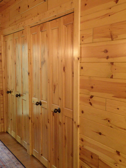 Bi Fold Closet Doors Made With Knotty Pine Paneling