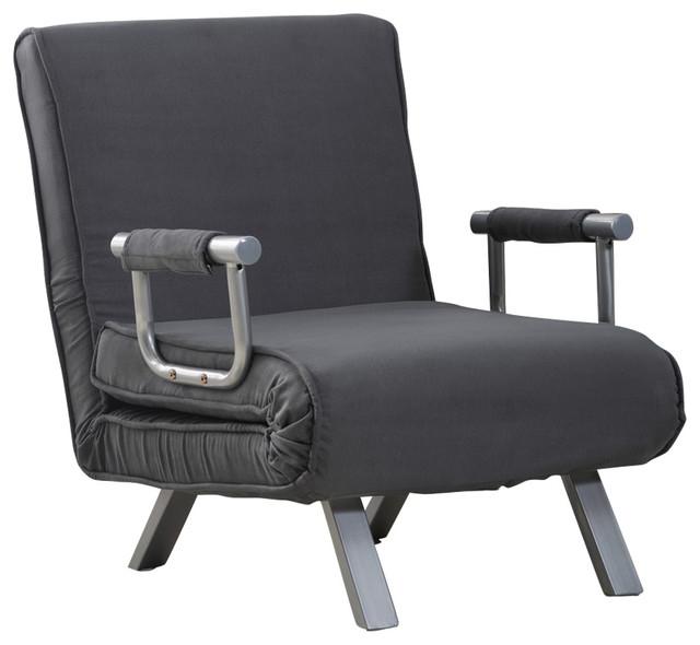 HomCom 5 Position Folding Sleeper Chair, Gray