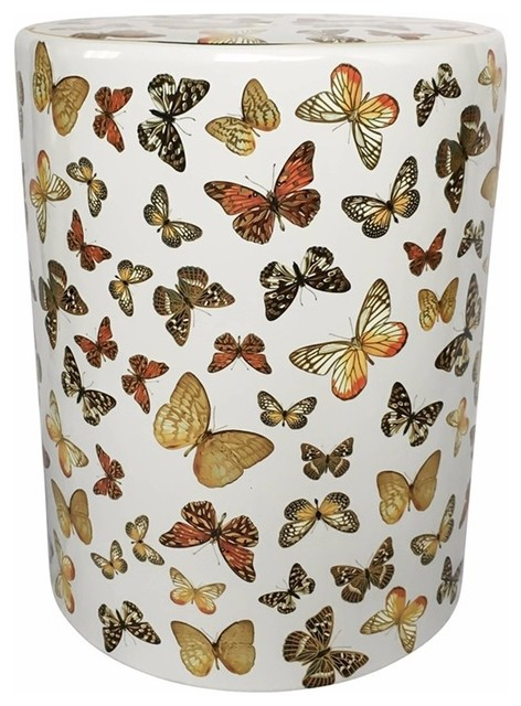 Awesome Fancy Butterfly Designed Ceramic Garden Stool Multicolor Cjindustries Chair Design For Home Cjindustriesco