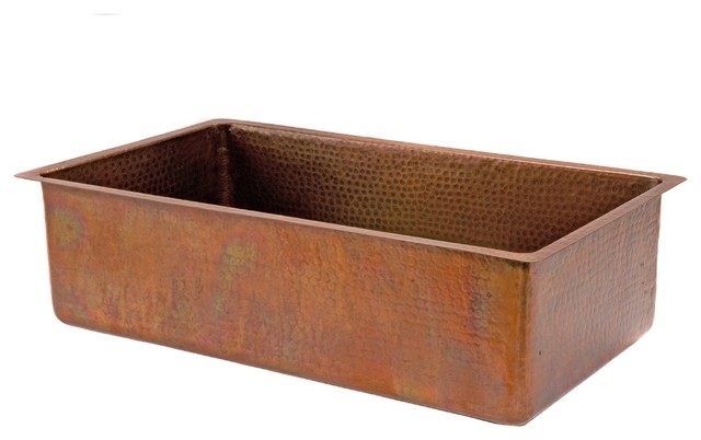 "Premier Copper Products 33"" Antique Hammered Copper Kitchen Single Basin Sink"