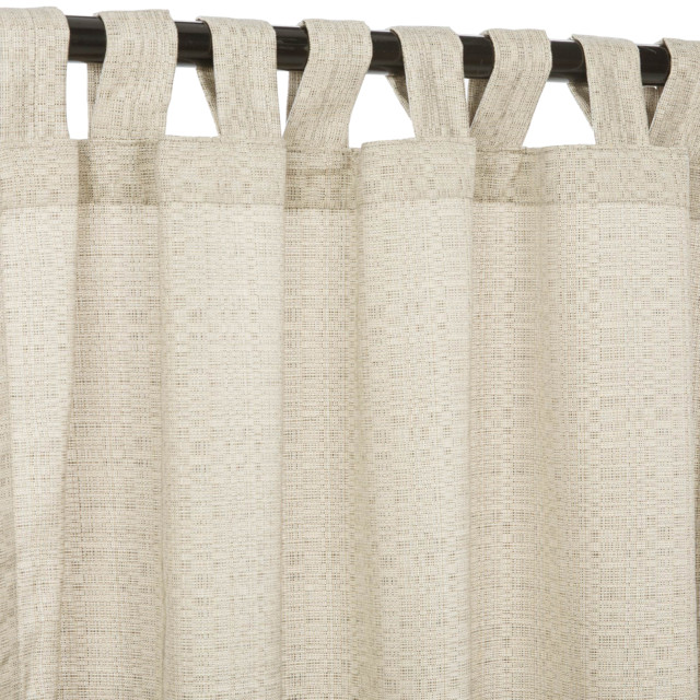 "Sunbrella 108"" Tab Top Outdoor Curtains, Linen Silver."