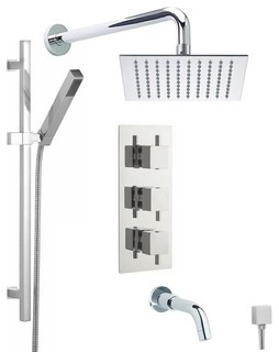 "Chrome Thermostatic Shower System With 8"" Square Rain Head Handset & Tub Spout"