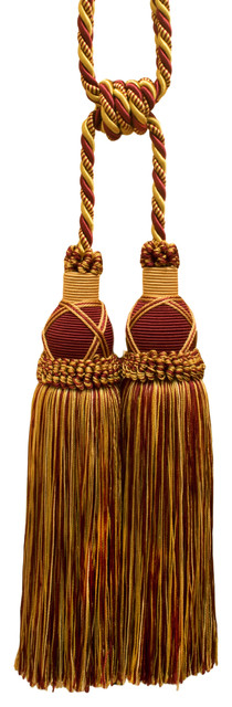 "Burgundy Red Gold 10"" Double Tassel Tieback Royal Romance, Invidual."