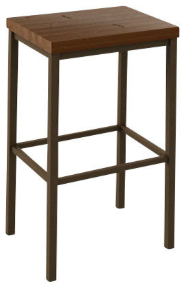Wood Seat Backless Non-Swivel Stool, Bar Seat