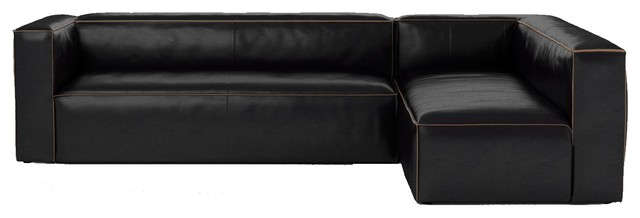 Nolita Saddle Black Leather Modular Sectional Sofa, Left Facing