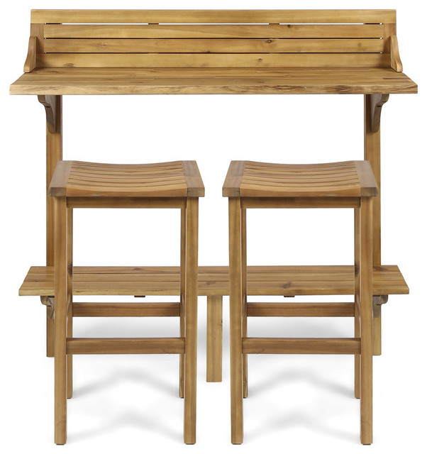 GDF Studio 3-Piece Cassie Outdoor Acacia Wood Balcony Bar Set, Natural Stained