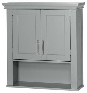 Grey Wood Bathroom Wall Mounted Storage Cabinet With Bottom Shelf