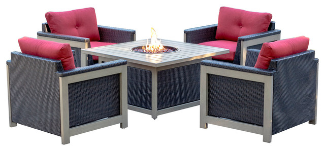 5-Piece Fire Pit Set, 4 Deep Seating Chairs, Sq Woven Fire Pit-Red/brown.