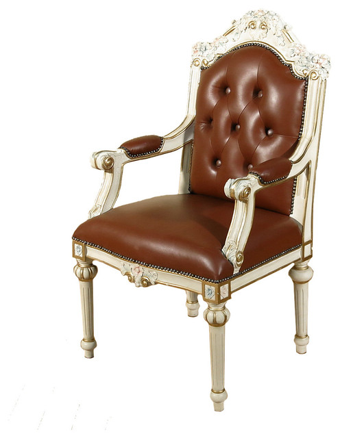 Consigned Vintage Cream Genuine Brown Leather Carved Ornate Occasional Arm  Chair